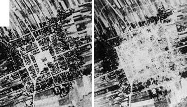 Frampol. Porównanie planów urbanistycznych: 1. Miasto przed 1939 r., 2. Miasto poćwiczebnych bombardowaniach niemieckich 1943.