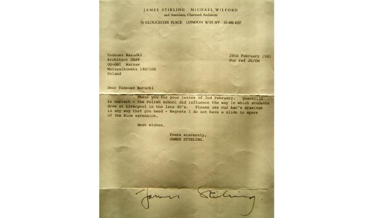 List J. Stirlinga potwierdzający wpływ Polskiej Szkoły Architektury wLiverpoolu nasposób rysowania angielskiej architektury.